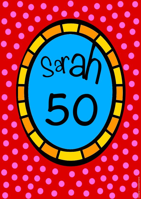 Verjaardagskaarten - Sarah 50 stippen