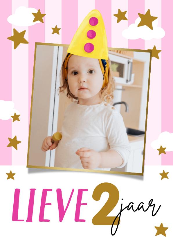 Verjaardagskaarten - Schattig kaartje met fotokader goud, feesthoedje en sterren
