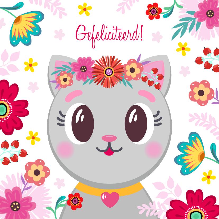 Verjaardagskaarten - Schattige kat verjaardagskaart met bloemen
