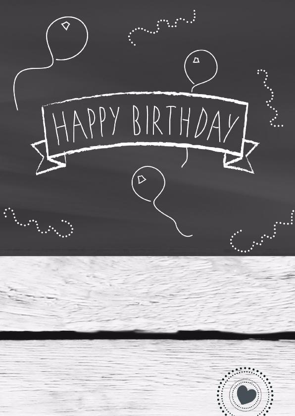 Verjaardagskaarten - Schoolbord Hout Happy Bday