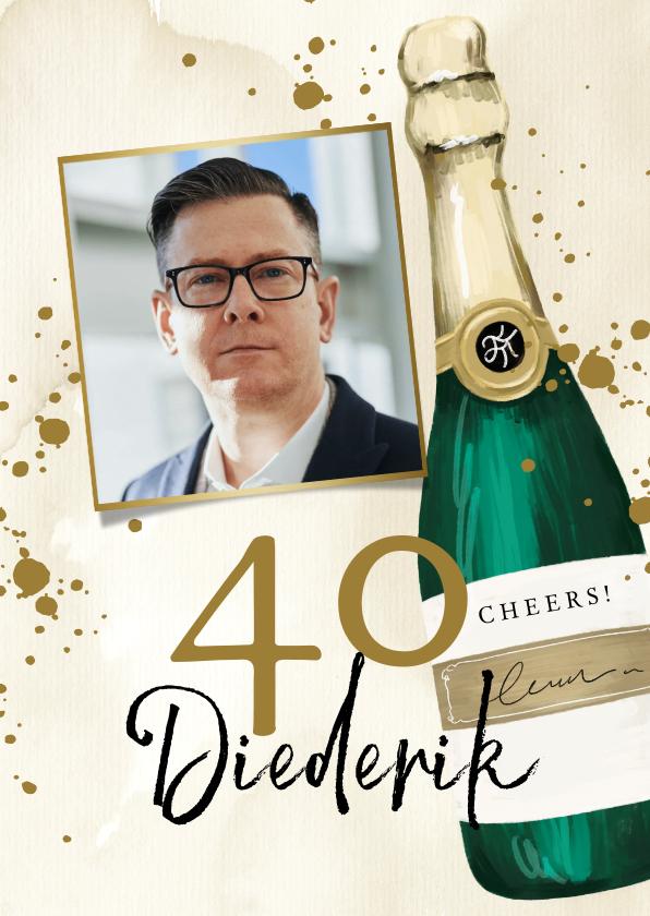 Verjaardagskaarten - Stijlvol moderne verjaardagskaart met champagne thema