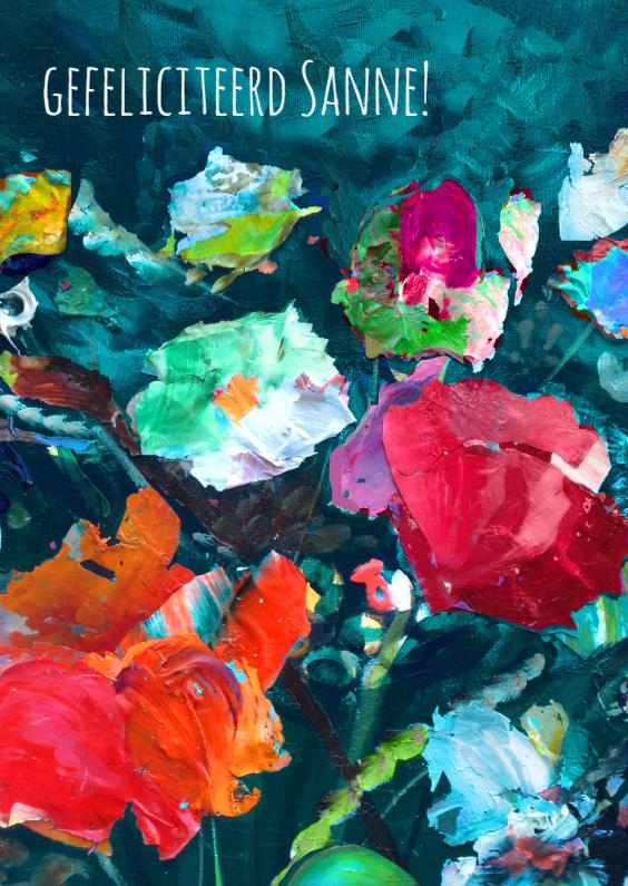 Verjaardagskaarten - Stijlvolle bloemen kunst print