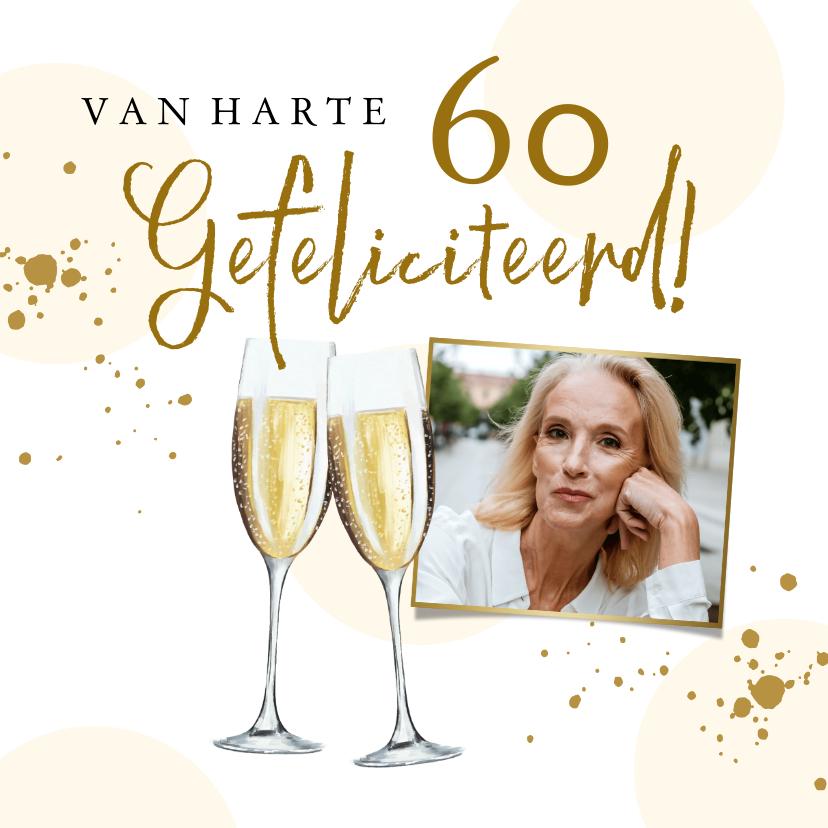 Verjaardagskaarten - Stijlvolle kaart met champagneglazen, spetters en foto