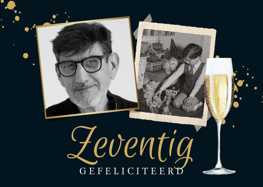 Verjaardagskaarten - Stijlvolle kaart met foto's, champagneglas in goud en blauw