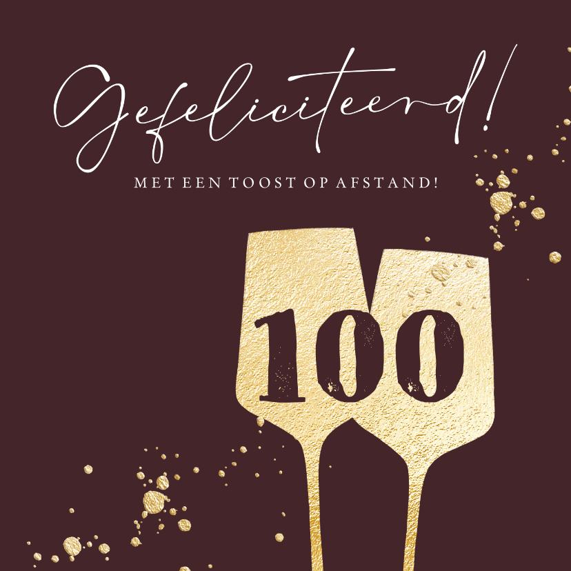 Verjaardagskaarten - Stijlvolle kaart met gouden wijnglazen en spetters