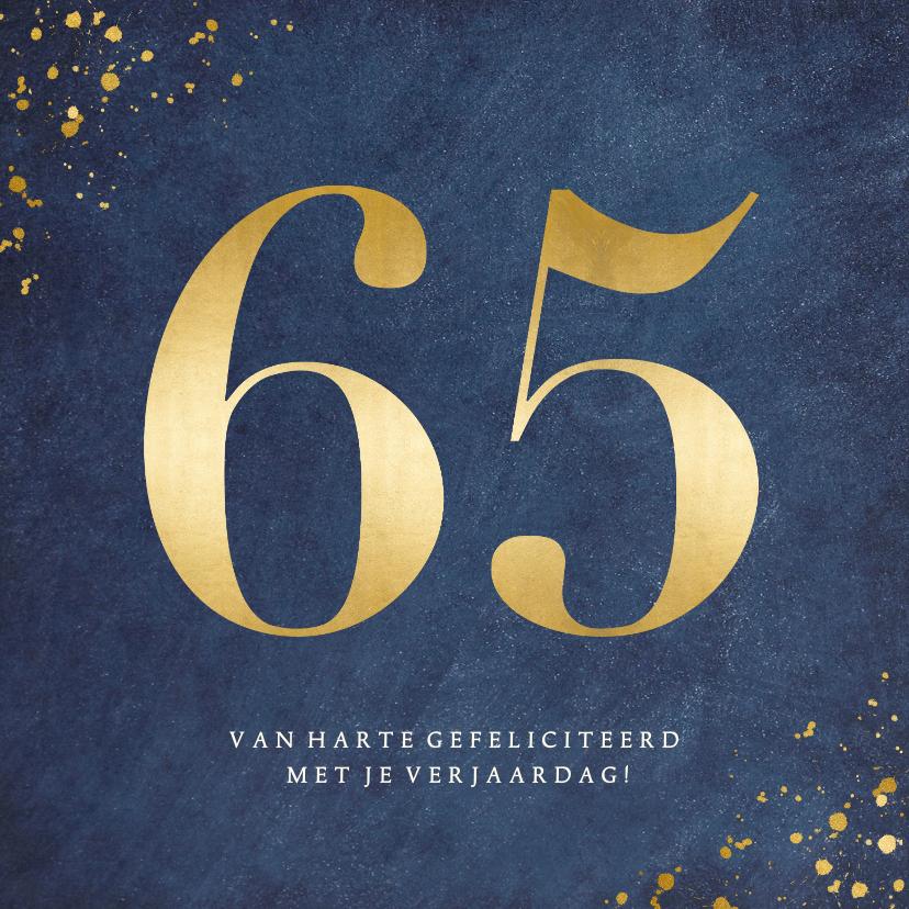 Verjaardagskaarten - Stijlvolle klassieke verjaardagskaart met gouden leeftijd 65