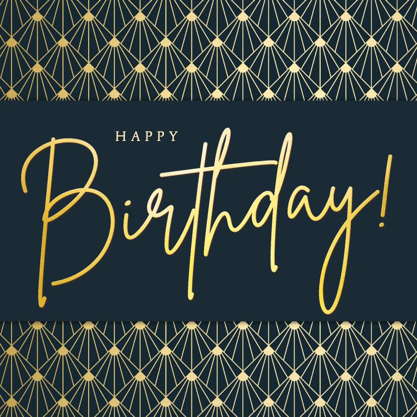 Verjaardagskaarten - Stijlvolle retro art-deco verjaardagskaart met goud en blauw