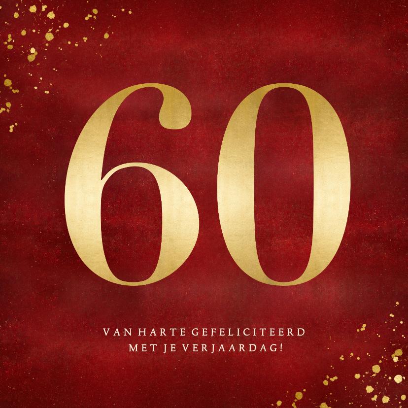 Verjaardagskaarten - Stijlvolle rode verjaardagskaart met gouden leeftijd 60