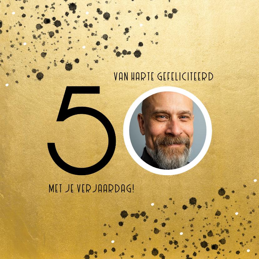 Verjaardagskaarten - Stijlvolle verjaardagskaart goud spetters 50 met foto