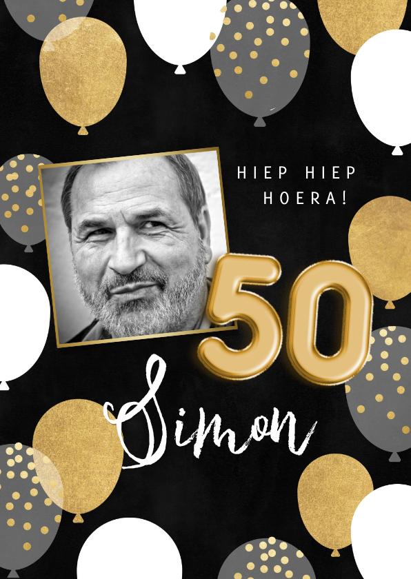 Verjaardagskaarten - Stijlvolle verjaardagskaart man ballonnen, 50 en foto