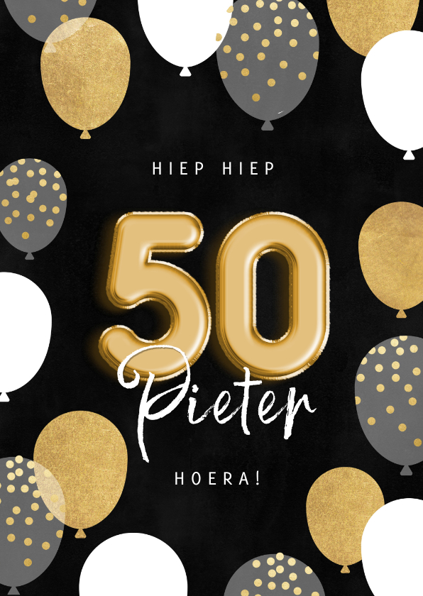 Verjaardagskaarten - Stijlvolle verjaardagskaart man ballonnen, confetti en 50