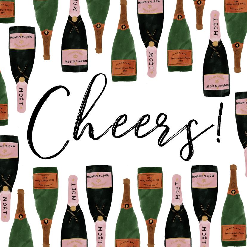 Verjaardagskaarten - Stijlvolle verjaardagskaart met champagne illustraties