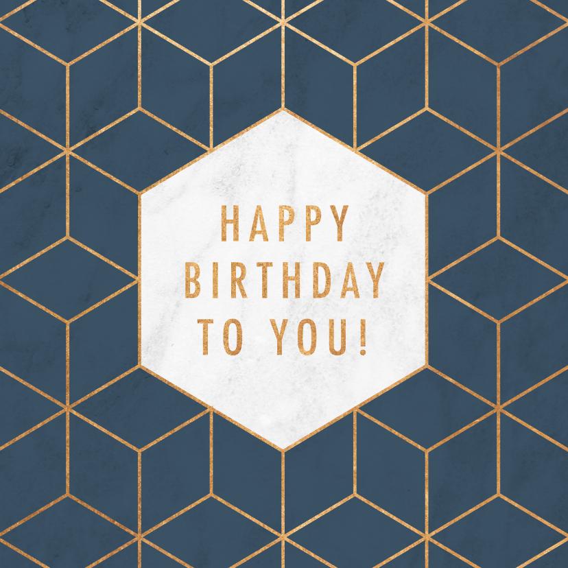 Verjaardagskaarten - Stijlvolle verjaardagskaart met geometrisch patroon & marmer
