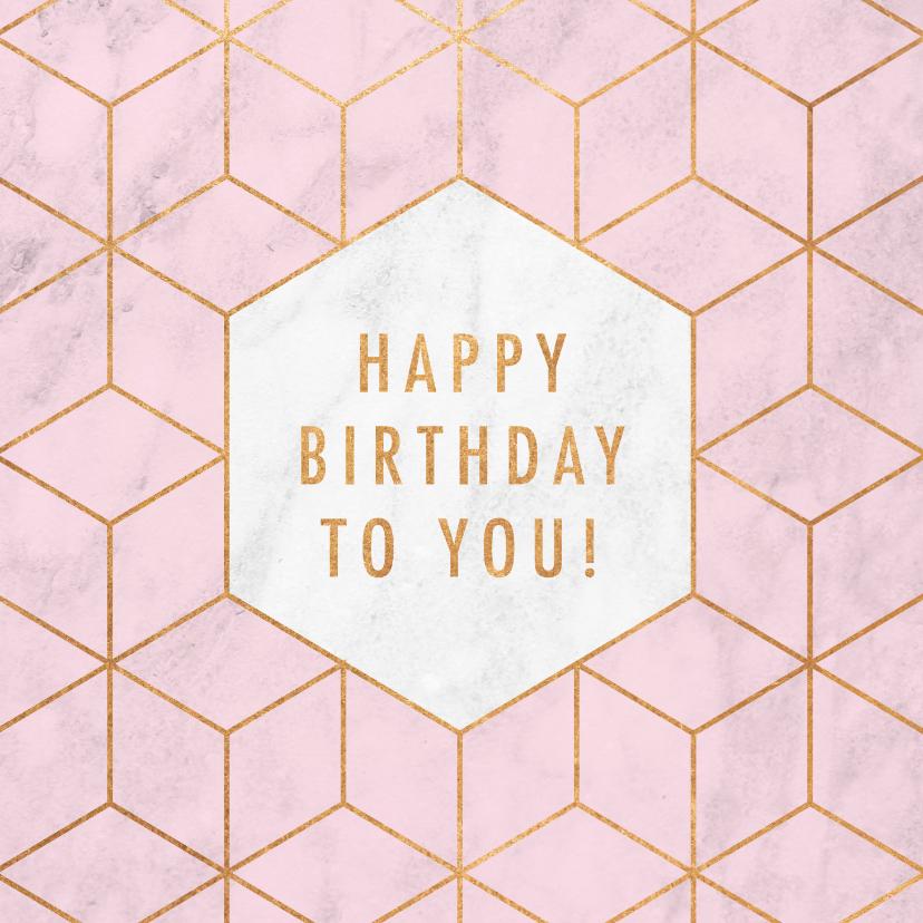 Verjaardagskaarten - Stijlvolle verjaardagskaart met gouden patroon en marmer