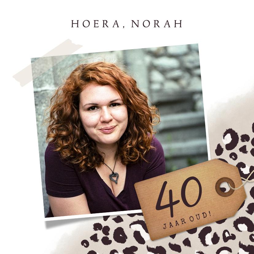 Verjaardagskaarten - Stijlvolle verjaardagskaart met luipaardprint voor een vrouw