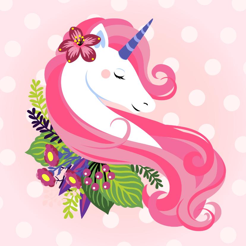 Verjaardagskaarten - Stijlvolle verjaardagskaart met unicorn en bloemen