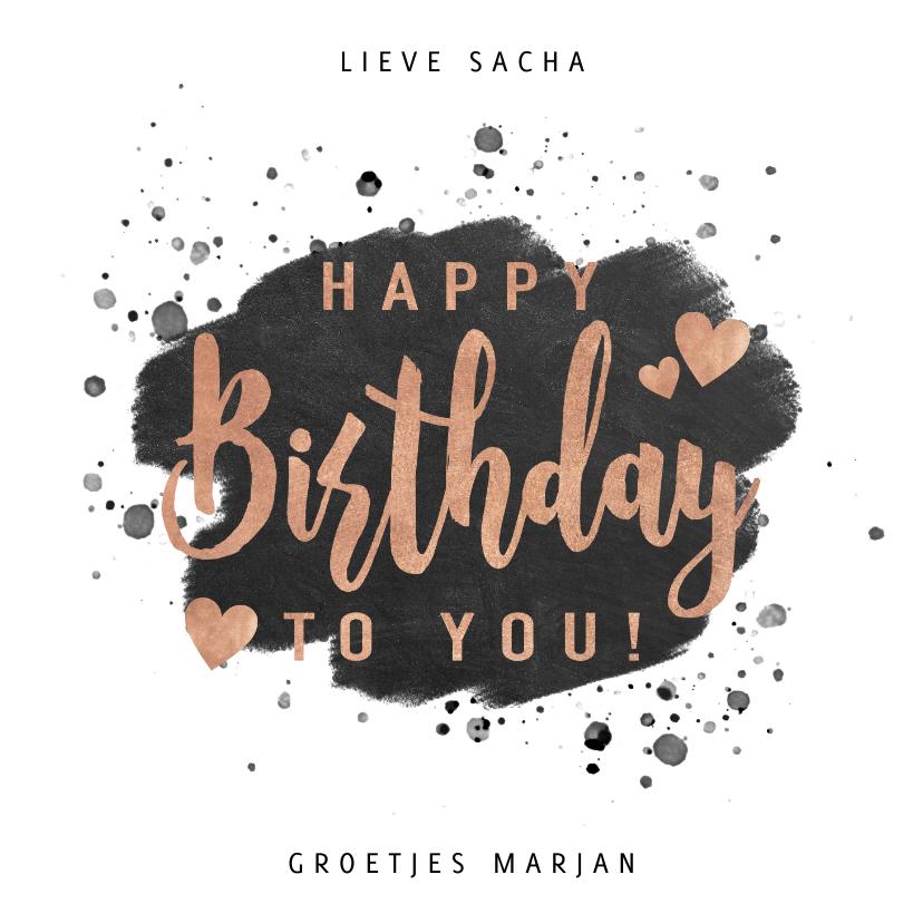 Verjaardagskaarten - Stijlvolle verjaardagskaart met verf en typografie
