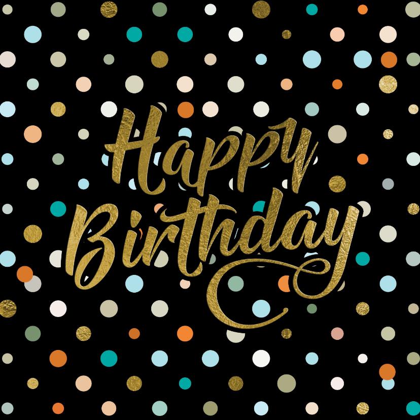 Verjaardagskaarten - Stoere felicitatiekaart zwart met confetti voor jongen