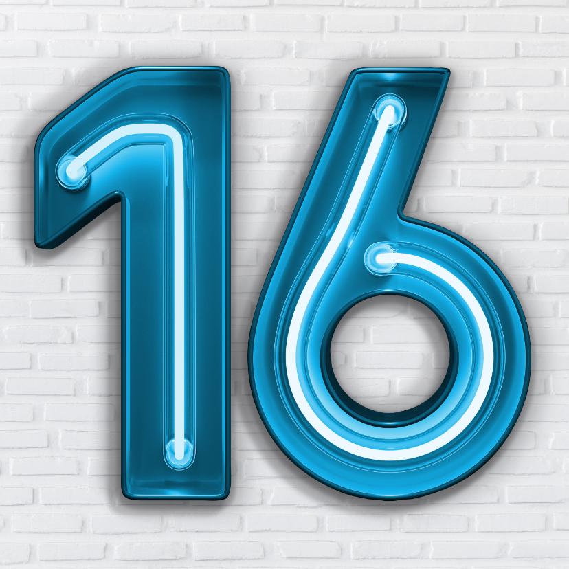 Verjaardagskaarten - Stoere industriële kaart met 16 in blauwe neon letters