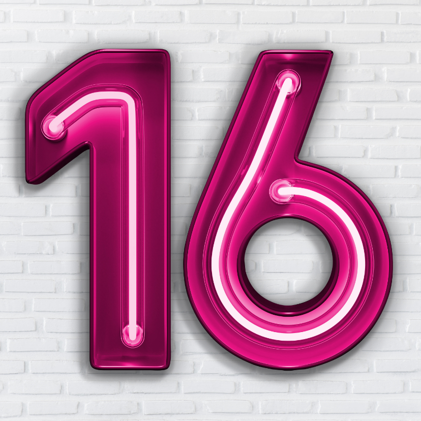 Verjaardagskaarten - Stoere industriële kaart met 16 in roze neon cijfers
