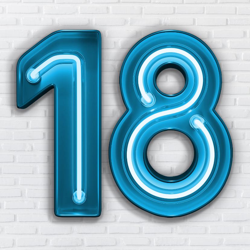 Verjaardagskaarten - Stoere industriële kaart met 18 in blauwe neon cijfers