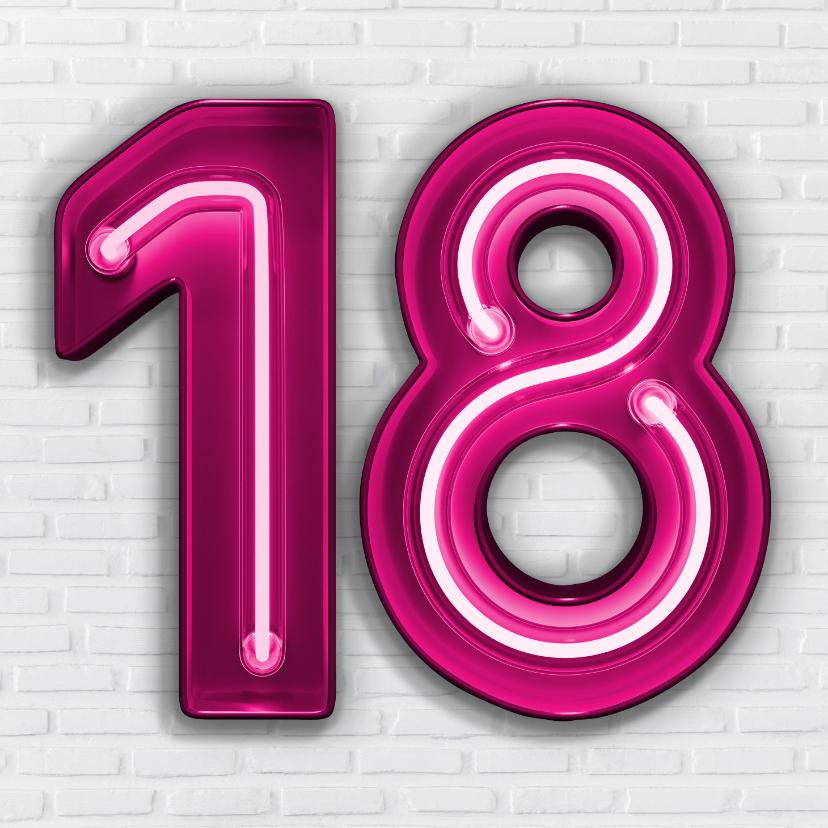 Verjaardagskaarten - Stoere industriële kaart met 18 in roze neon cijfers