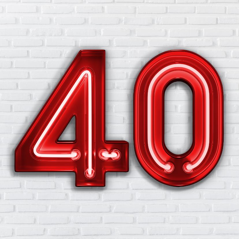 Verjaardagskaarten - Stoere industriële kaart met 40 in rode neon cijfers