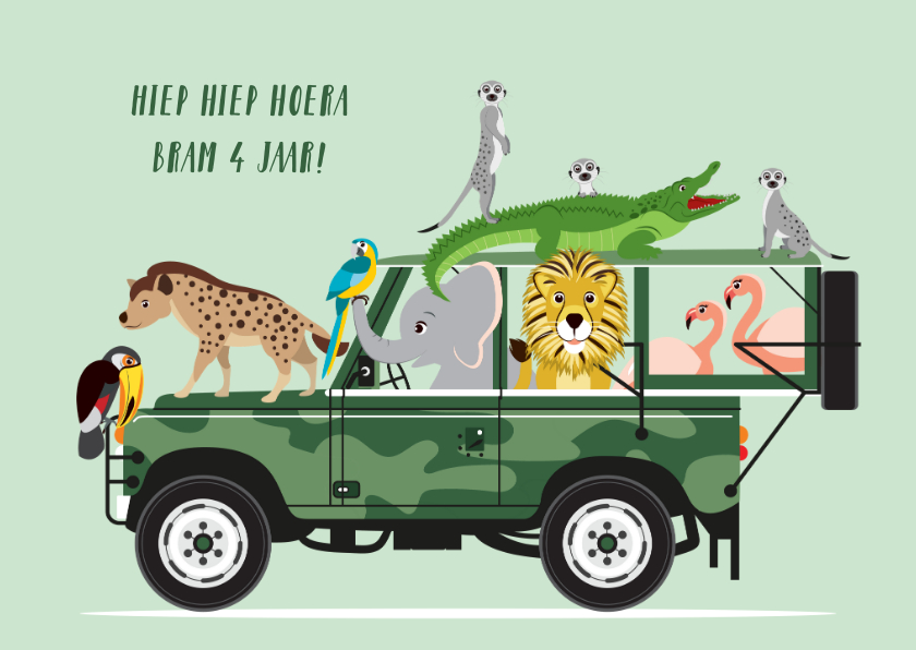 Verjaardagskaarten - Stoere jeep met vrolijke dieren wenst een fijne verjaardag