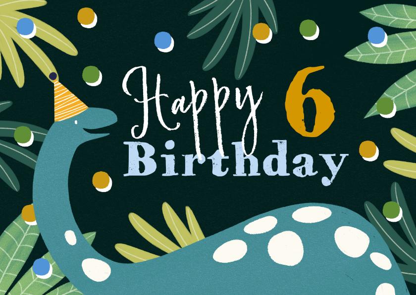 Verjaardagskaarten - Stoere kaart met dino op donkere achtergrond en confetti