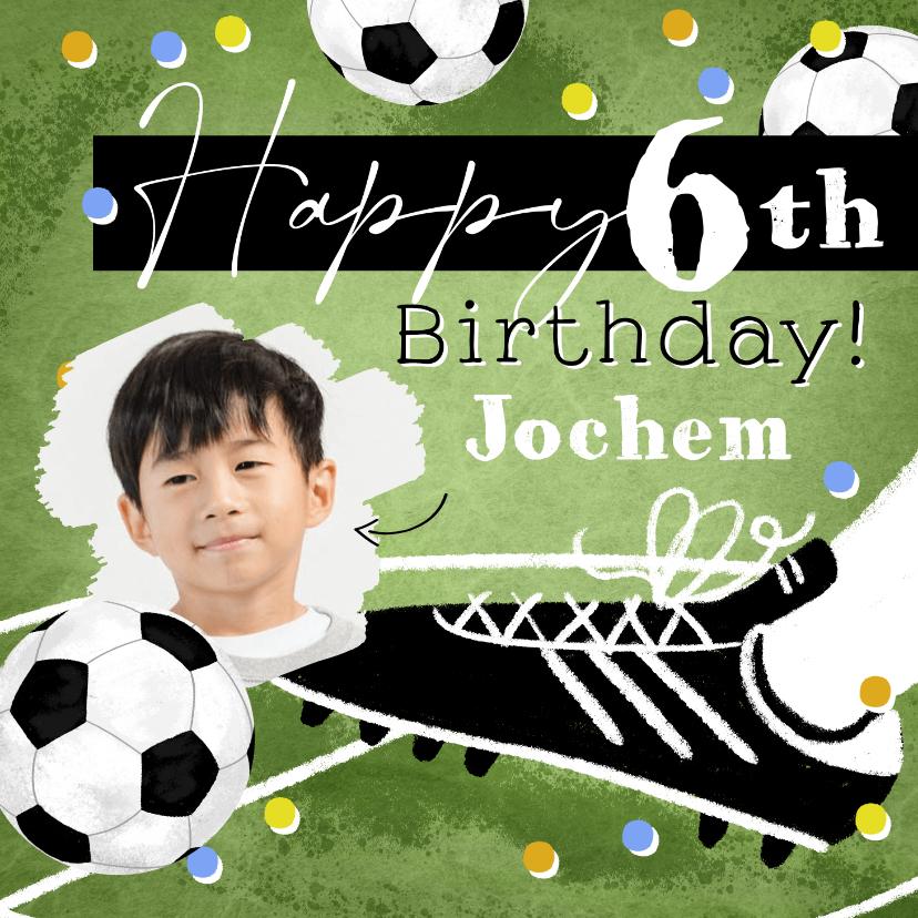 Verjaardagskaarten - Stoere kaart met voetbal confetti en foto