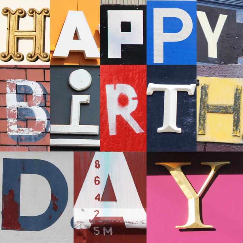Verjaardagskaarten - Stoere Letters Happy Birthday