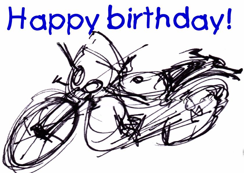 Verjaardagskaarten - Stoere verjaardagskaart- motor-man-vader