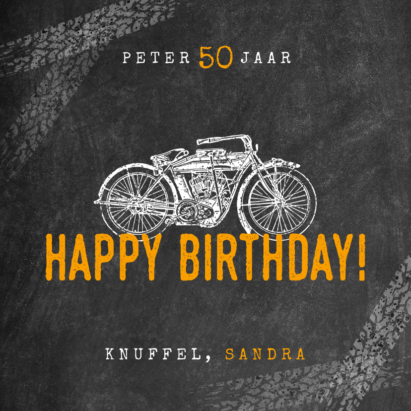 Verjaardagskaarten - Stoere verjaardagskaart man met motor en happy birthday!