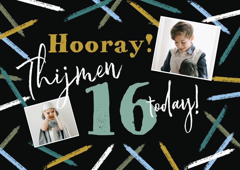 Verjaardagskaarten - Stoere verjaardagskaart met abstracte kaarsjes en foto