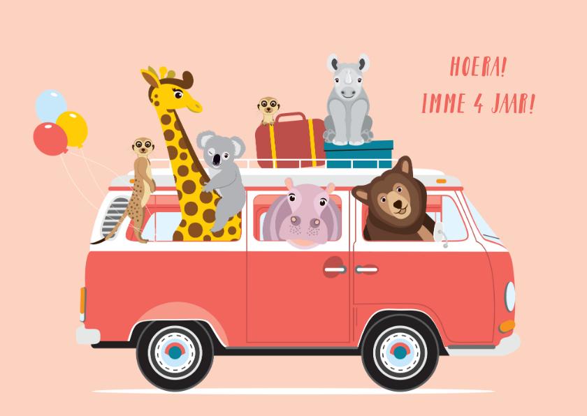 Verjaardagskaarten - Stoere verjaardagskaart met volkswagen busje en dieren