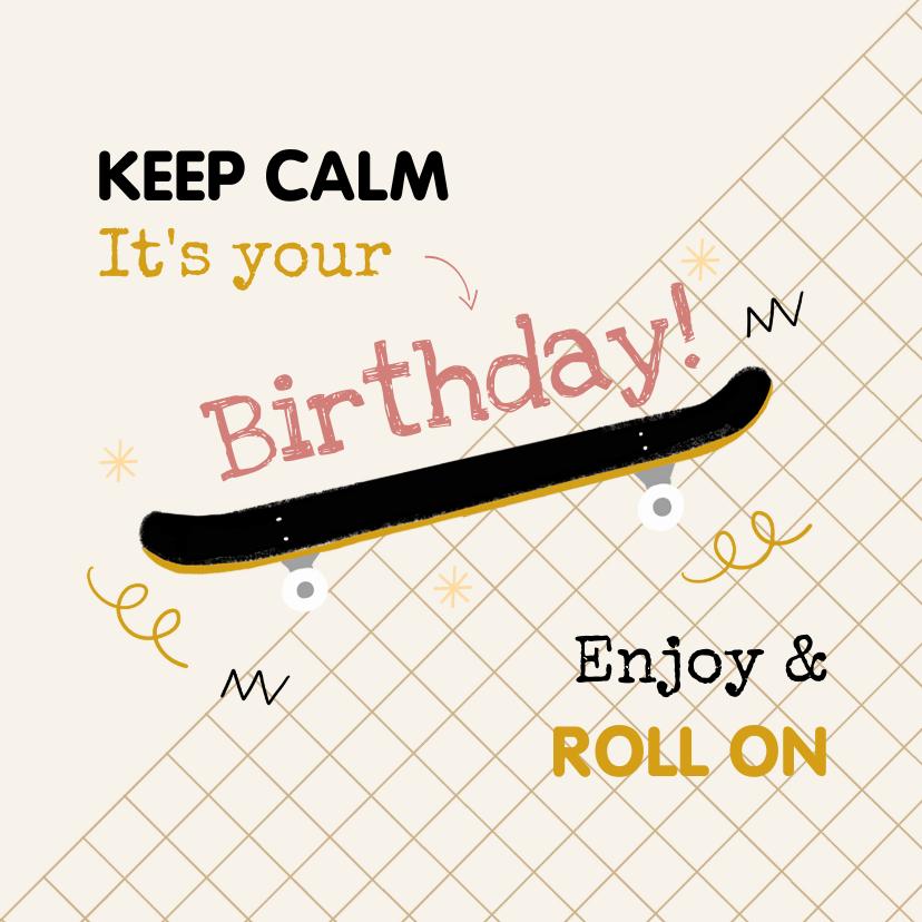 Verjaardagskaarten - Stoere verjaardagskaart skateboard grafisch okergeel