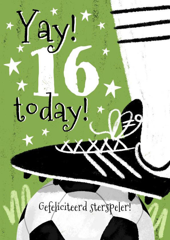 Verjaardagskaarten - Stoere voetbal verjaardagskaart met voetbalschoen