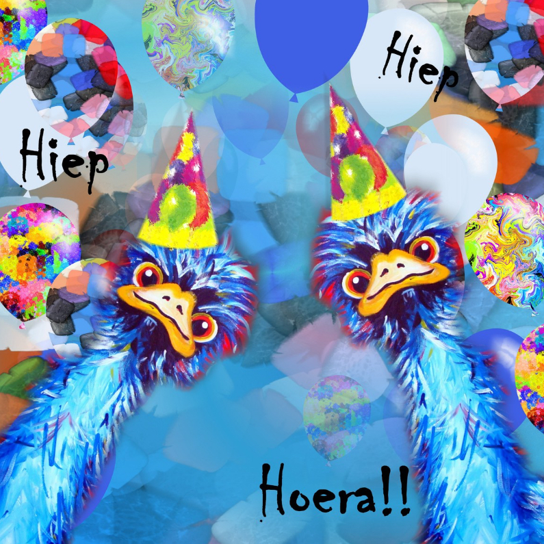 Verjaardagskaarten - Struisvogel blauw