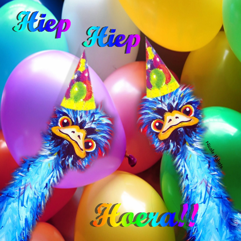 Verjaardagskaarten - Struisvogels geel