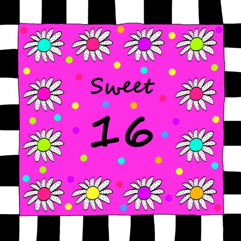 Verjaardagskaarten - Sweet 16 bloemetjes