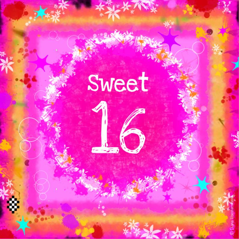 Verjaardagskaarten - Sweet 16 kleurig