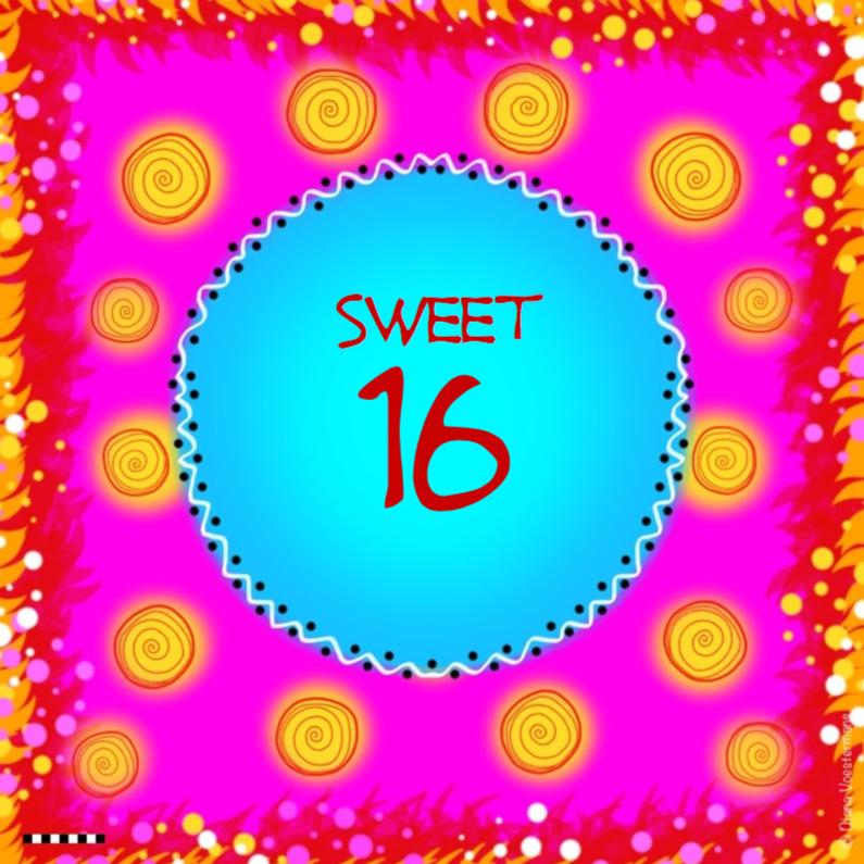 Verjaardagskaarten - Sweet 16 roze met gele cirkels