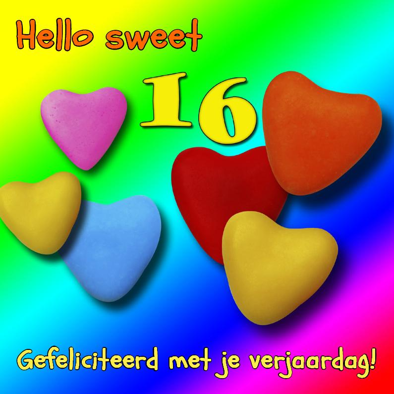 Verjaardagskaarten - Sweet sixteen, hartjes