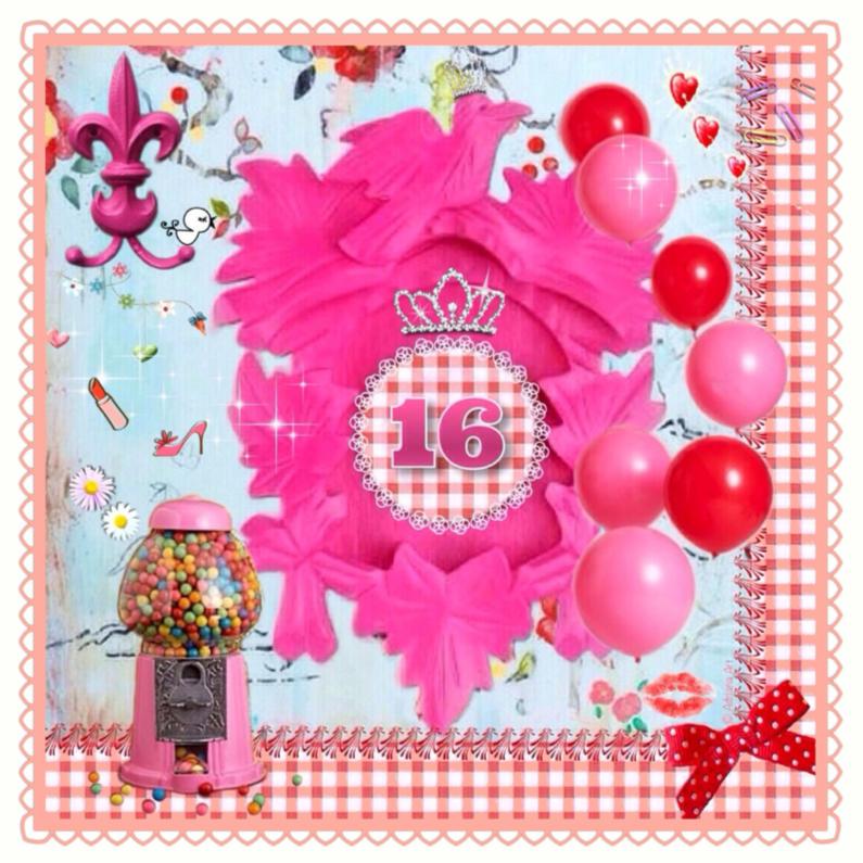 Verjaardagskaarten - Sweet sixteen Mixed Media