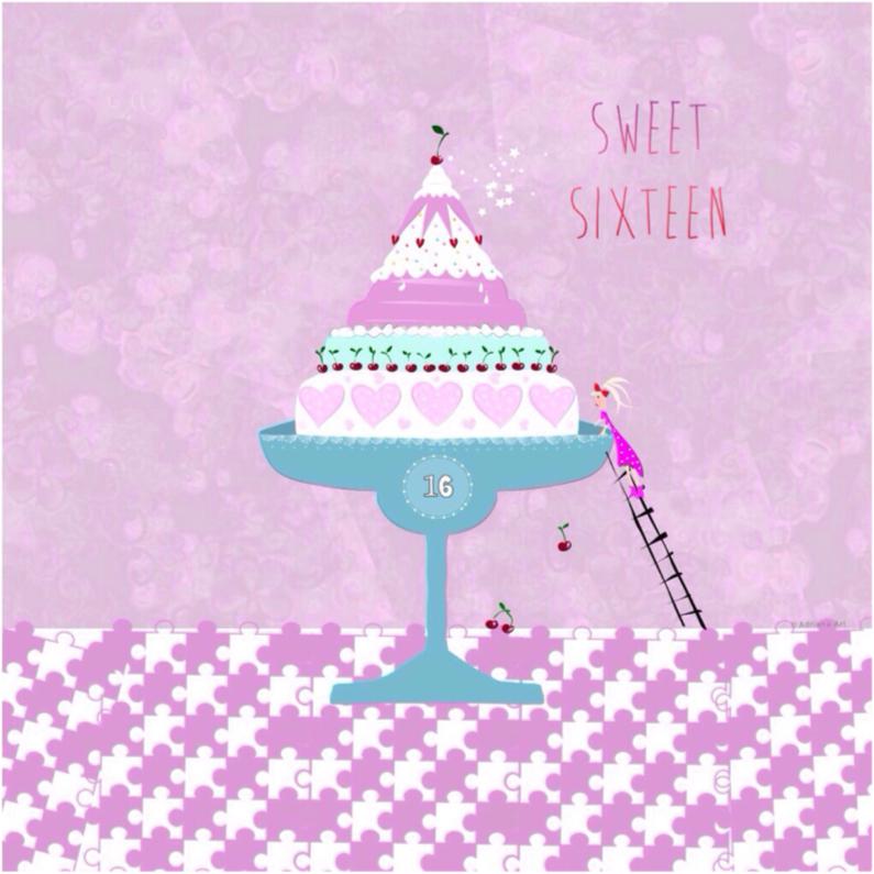 Verjaardagskaarten - Sweet sixteen taart pastel