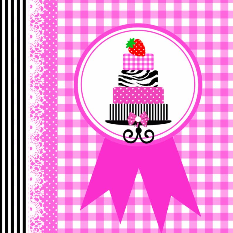 Verjaardagskaarten - Taart-aardbei