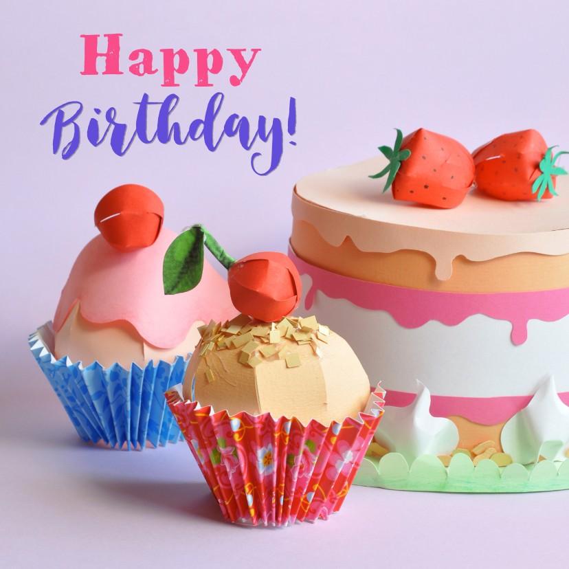 Verjaardagskaarten - Taart en cupcakes