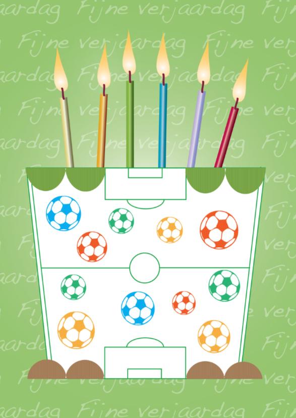 Verjaardagskaarten - taart met een voetbal veld