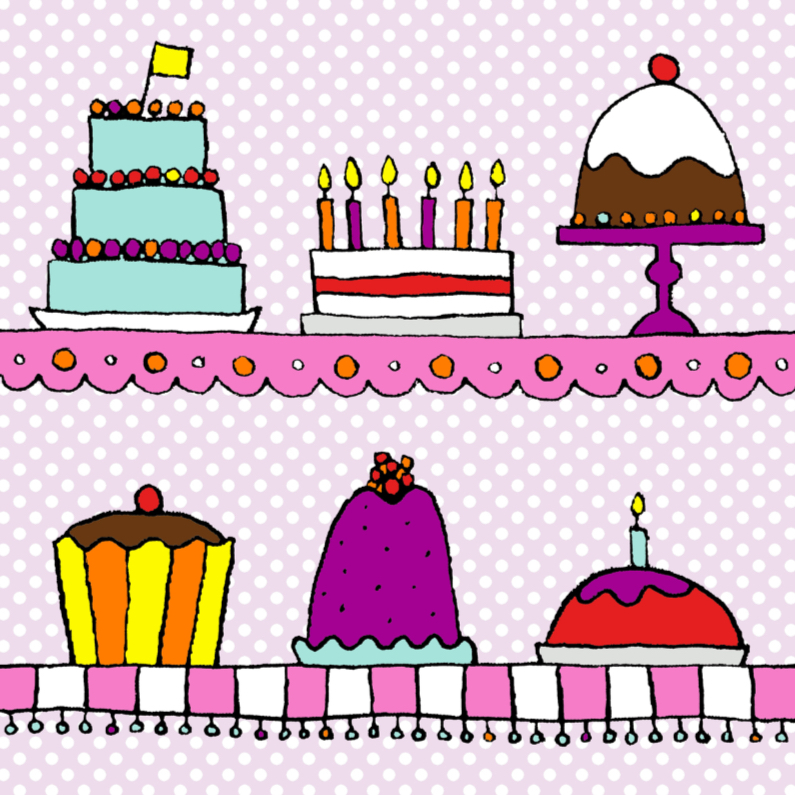 Verjaardagskaarten - Taarten met een paarse stippen achtergrond
