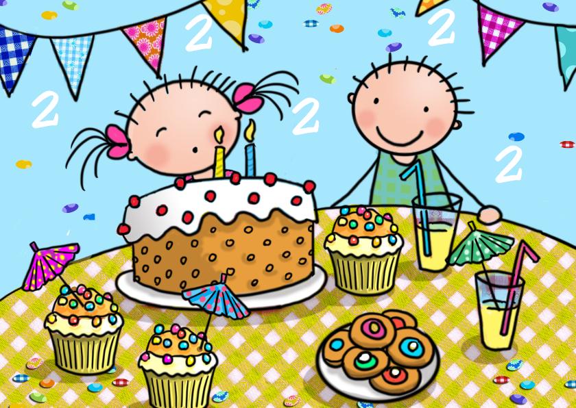 Verjaardagskaarten - Taartjes 2 jaar